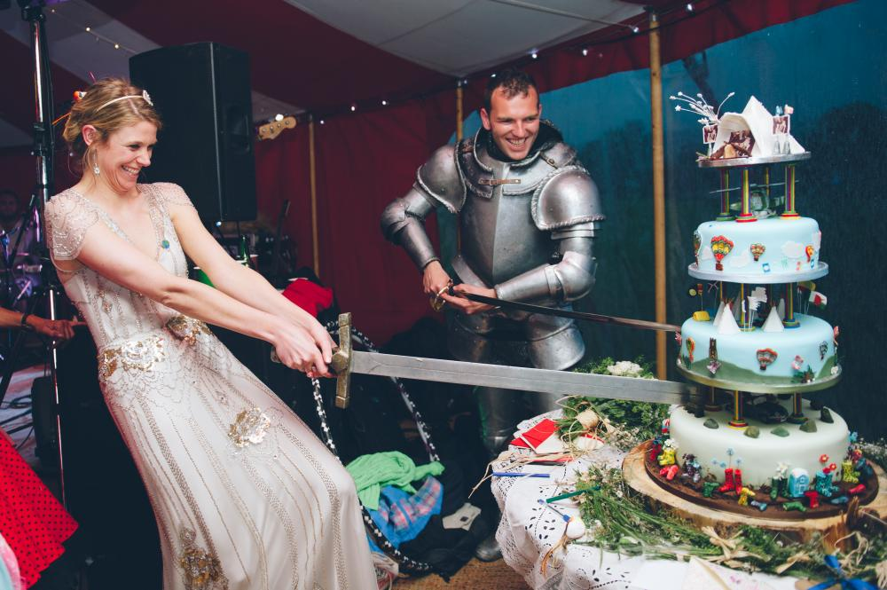bride and knight in shining armour